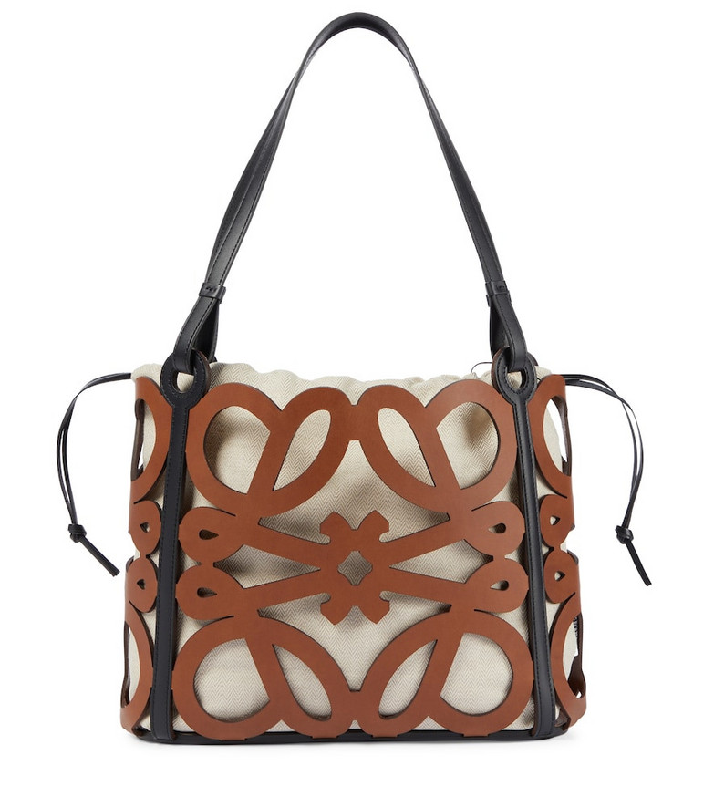 LOEWE Anagram Small cutout leather tote in brown