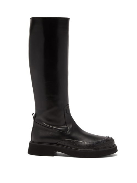 Tod's - Gommini Knee-high Leather Boots - Womens - Black