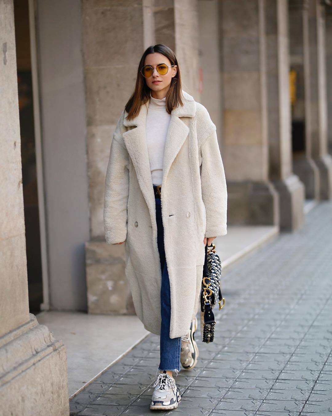 coat faux fur coat double breasted long coat sneakers cropped jeans dior bag white turtleneck top