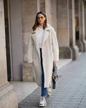 coat,faux fur coat,double breasted,long coat,sneakers,cropped jeans,dior bag,white turtleneck top