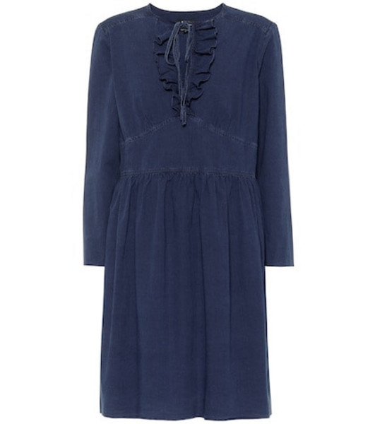 A.P.C. Poppy cotton chambray dress in blue