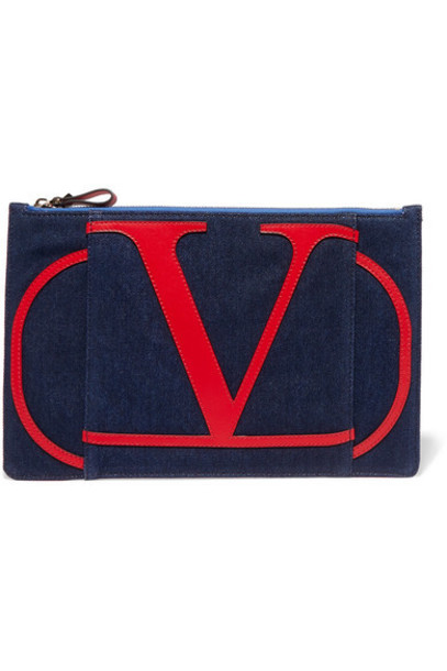 Valentino - Valentino Garavani Go Logo Leather-trimmed Denim Pouch - Navy