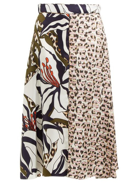 La Prestic Ouiston - Parapluie Mixed Print Silk Twill Midi Skirt - Womens - Animal