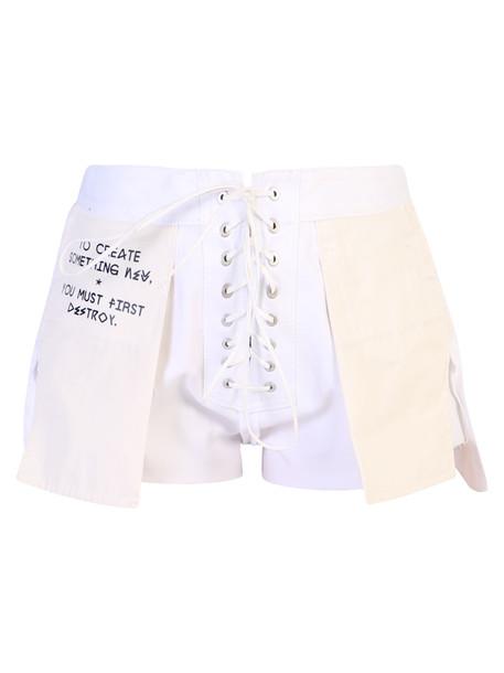 Ben Taverniti Unravel Project Cotton Shorts in white