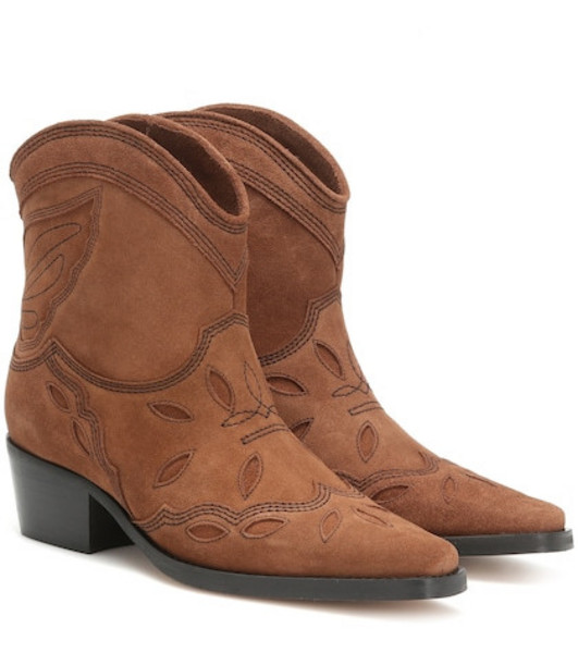 Ganni Low Texas suede cowboy boots in brown
