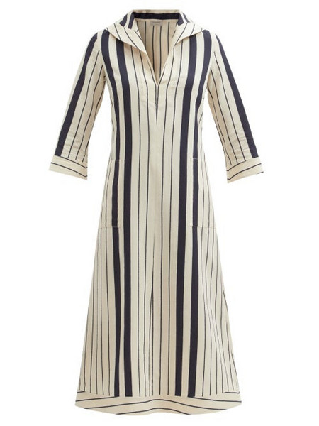 Zeus + Dione Zeus + Dione - Centaur Striped Certified-viscose Kaftan Dress - Womens - Blue Beige