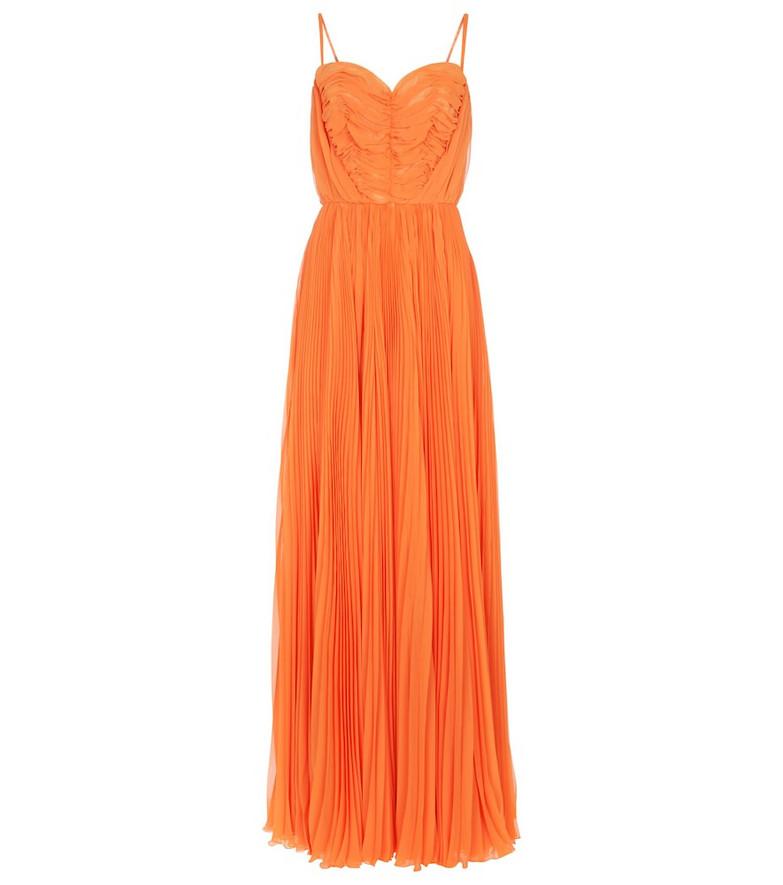 Dolce & Gabbana Pleated chiffon gown in orange