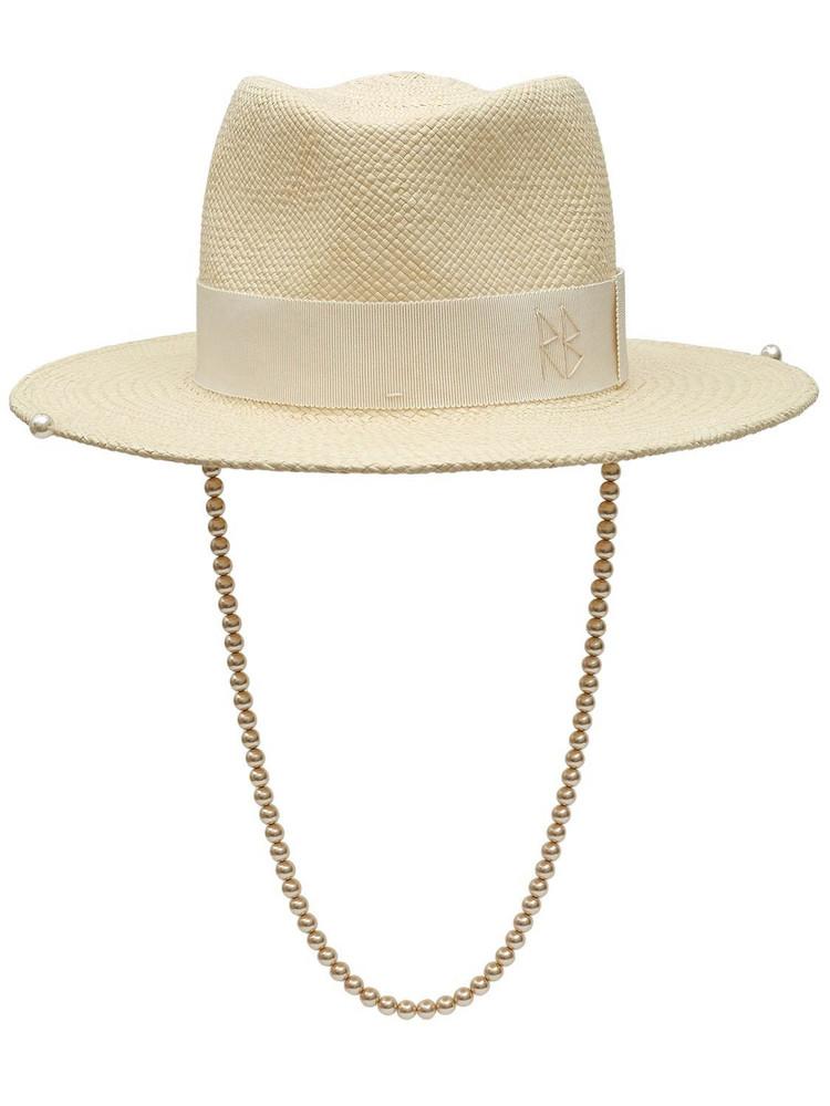 RUSLAN BAGINSKIY Faux Pearls Embellished Straw Fedora Hat in white