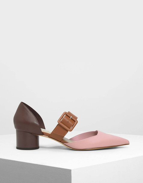 Mary Janes Buckle Pumps in pink