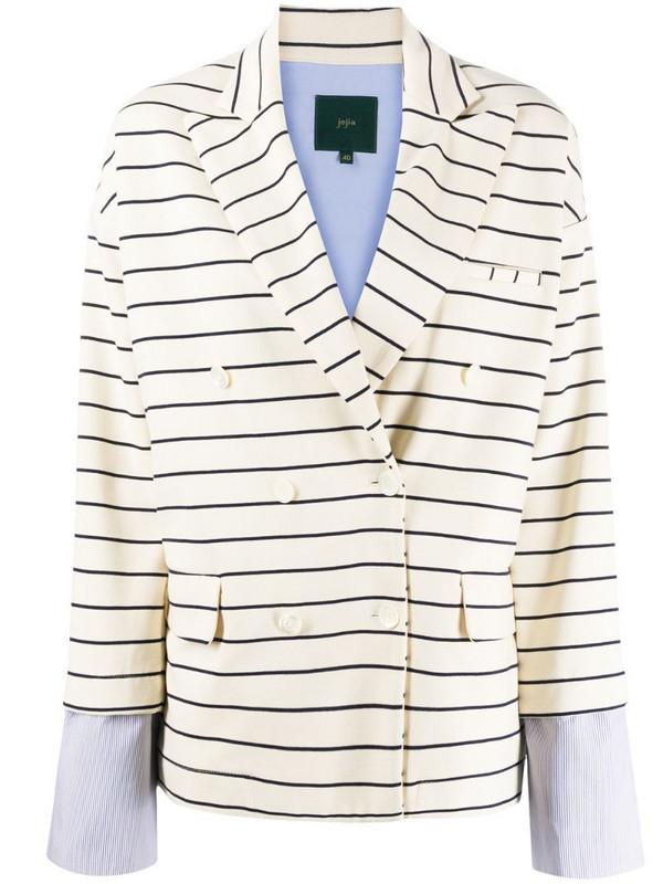 Jejia contrasting cuff striped blazer in white