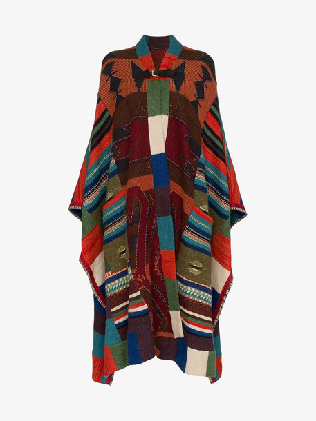 Etro leather buckle knitted wool mohair cashmere-blend cape