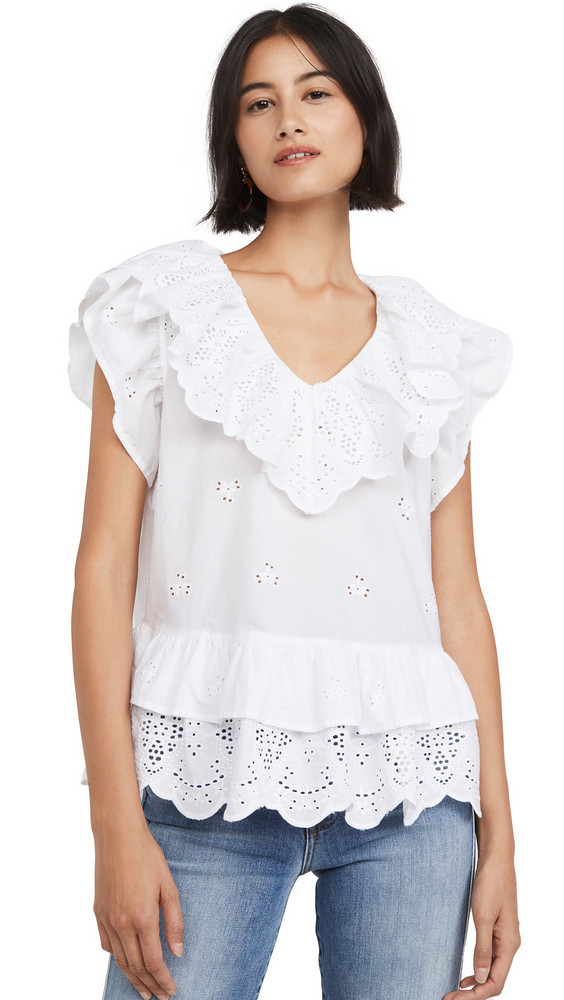 7 For All Mankind Ruffle Eyelet Top in white