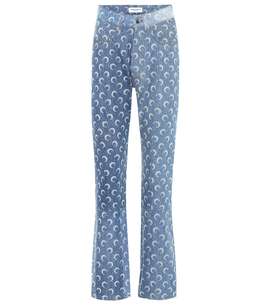 Marine Serre Printed high-rise jeans in blue