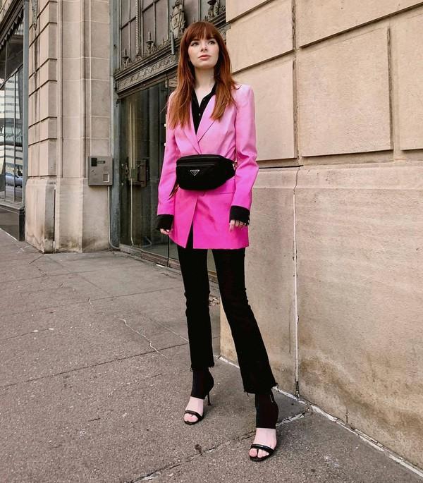 jacket pink blazer black sandals black pants skinny pants black shirt prada belt bag bag