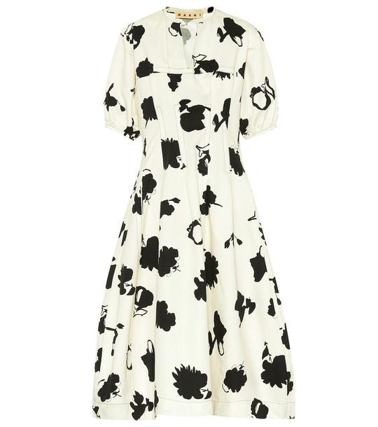 Marni Floral cotton-blend midi dress in white