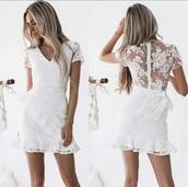 dress,white,lace,white dress,lace dress,v neck,back
