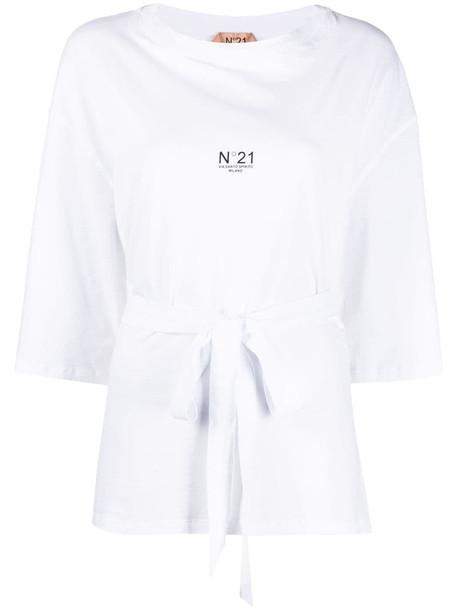 Nº21 logo print tie-waist T-shirt in white