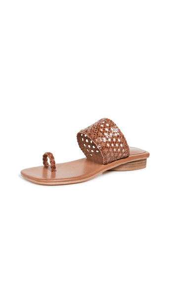 Jeffrey Campbell Althea Toe Ring Slides in natural