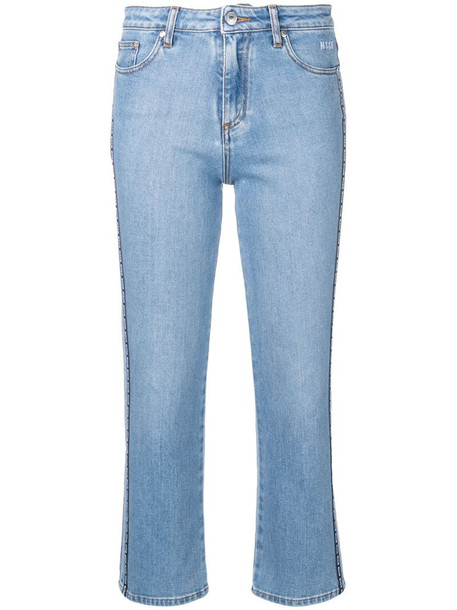 MSGM logo band cropped jeans in blue