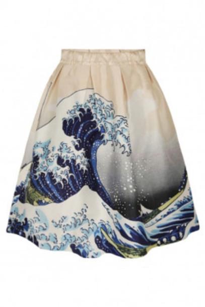 skirt art print a line skirt