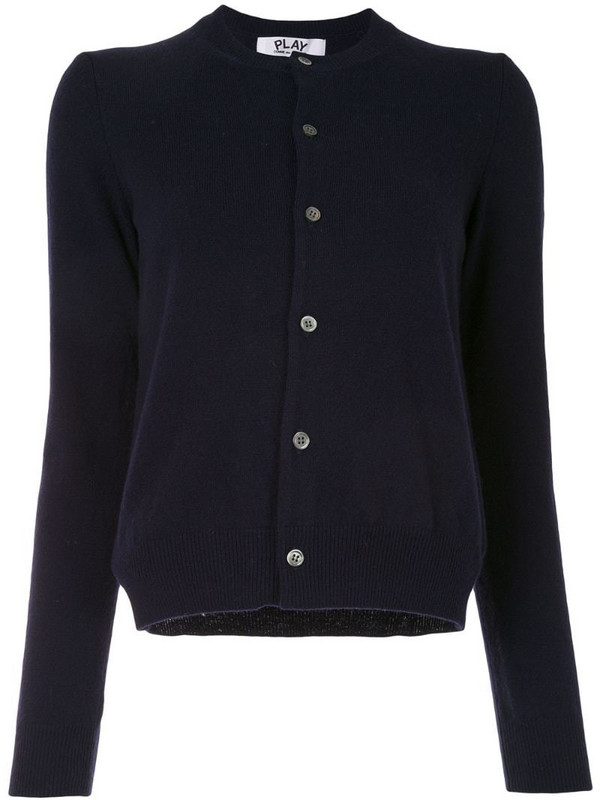 Comme Des Garçons Play embroidered-heart wool cardigan in blue