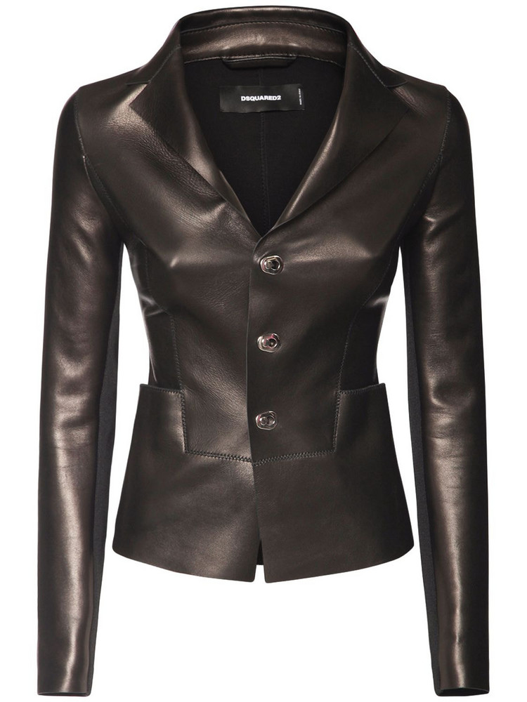 DSQUARED2 Leather Jacket W/ Front Pockets in black