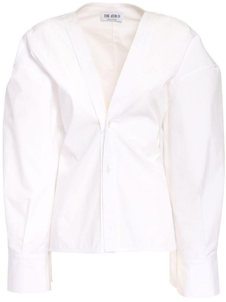 THE ATTICO Parachute Cotton Canvas V Neck Shirt in white