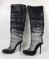 shoes,boots,black boots,knee high boots,knee high,mesh,clear,over the knee,thigh high boots,high heels boots,heel boots,over the knee boots,boot,heels,high heels,block heels,black