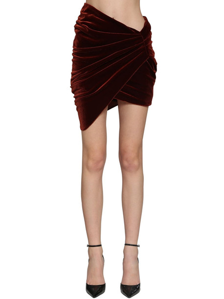 ALEXANDRE VAUTHIER Draped Velvet Jersey Mini Skirt
