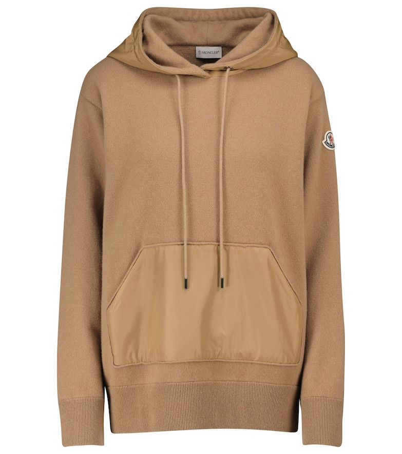 Moncler Wool and cashmere hoodie in brown