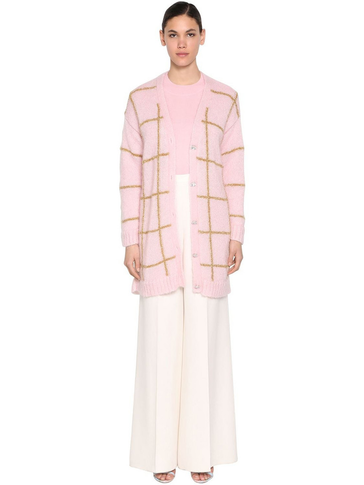 DELPOZO Oversized Mohair Blend Cardigan in pink