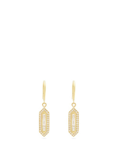 Azlee - Triple Baguette Diamond And Gold Drop Earrings - Womens - Gold