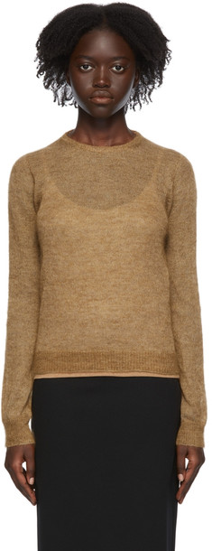 Max Mara Tan Mohair Layered Venus Sweater in camel