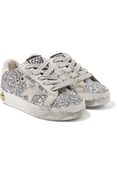 bb88843f795a Golden Goose Deluxe Brand Kids - Superstar Distressed Glittered Leather And Suede  Sneakers - Silver