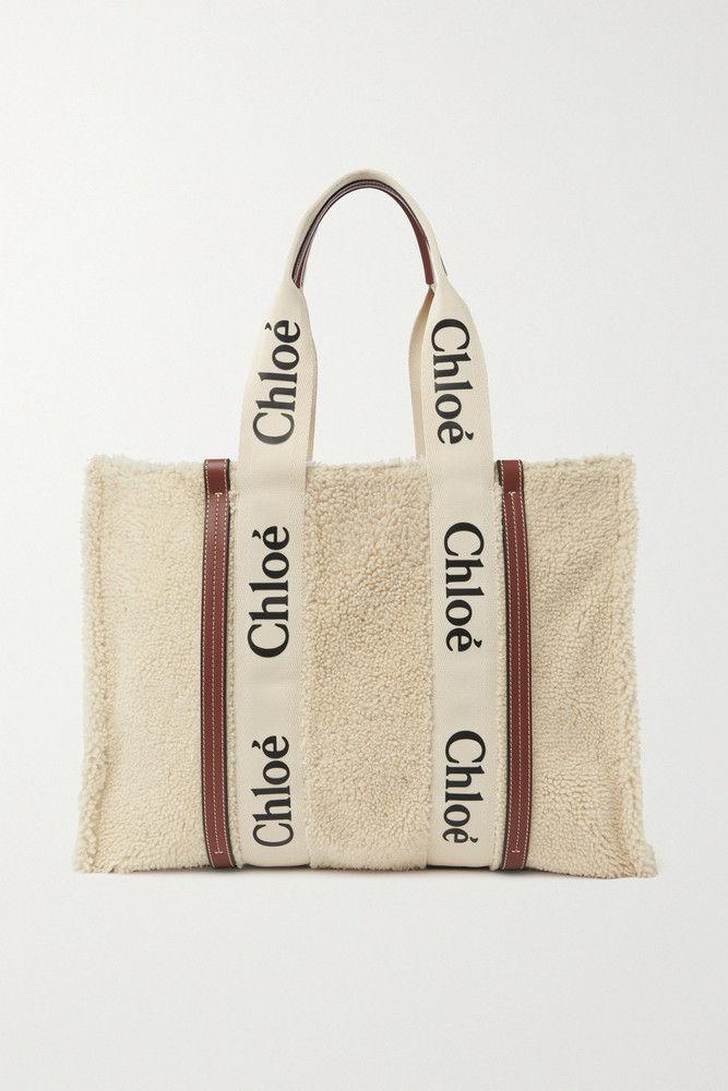 Chloé Chloé - Woody Large Leather-trimmed Shearling Tote - Neutrals