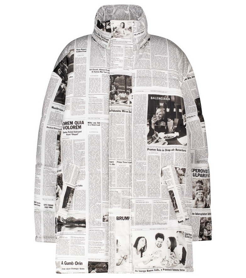 Balenciaga Printed puffer jacket in white