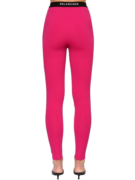BALENCIAGA Intarsia Logo Tech Jersey Leggings in fuchsia