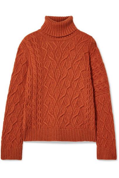 Loro Piana - Cable-knit Cashmere Turtleneck Sweater - Bright orange