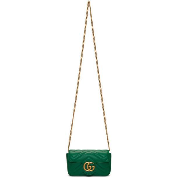 Gucci Green Super Mini GG Marmont Chain Bag