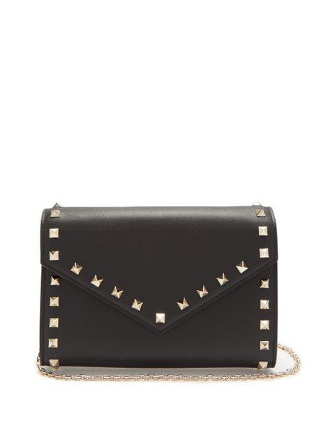 Valentino - Rockstud Leather Envelope Clutch - Womens - Black