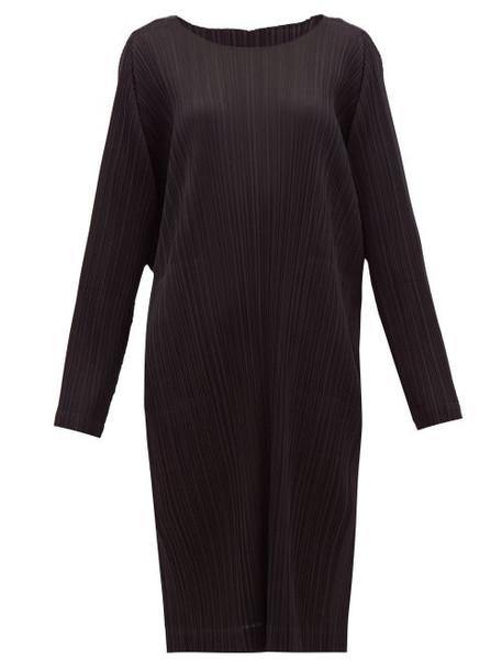 Pleats Please Issey Miyake - Pleated Technical-jersey Midi Tunic Dress - Womens - Black