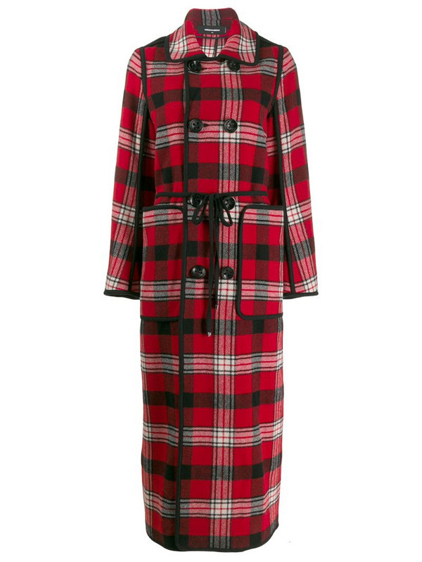 Dsquared2 long checked coat in red