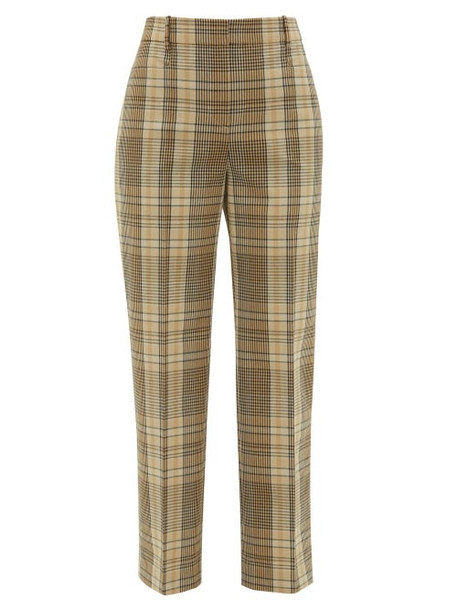 Joseph - Straight-leg Checked-madras Trousers - Womens - Beige Multi