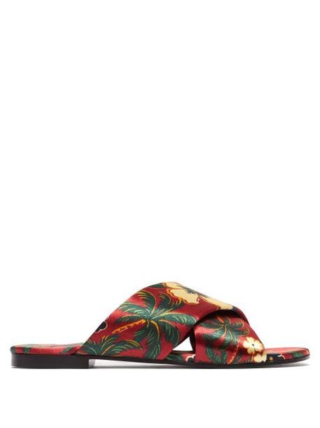 Avec Modération - Honolulu Silk Satin Sandals - Womens - Red Multi