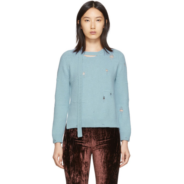 Marc Jacobs Blue The Worn And Torn Crewneck Sweater