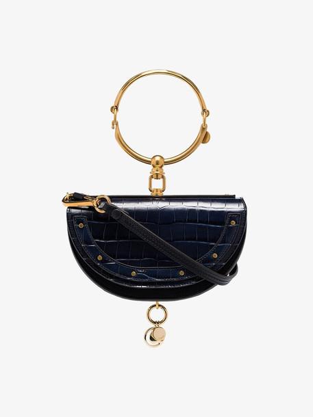Chloé Chloé Nile minaudière mock croc bracelet bag in blue