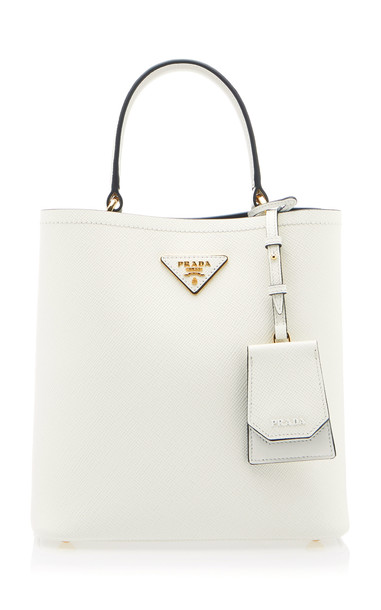 Prada Textured-Leather Tote Bag in white