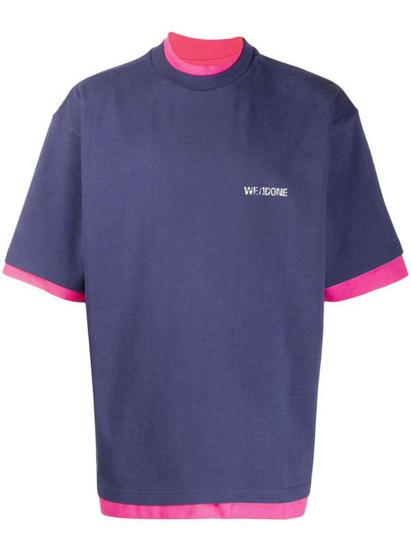 We11done layered vintage logo T-shirt in blue
