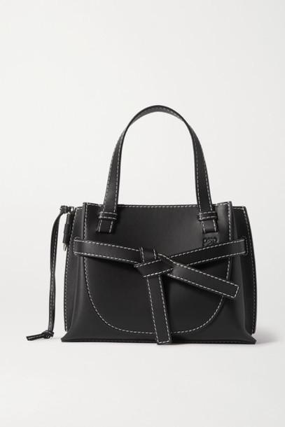 Loewe - Gate Mini Topstiched Leather Tote - Black