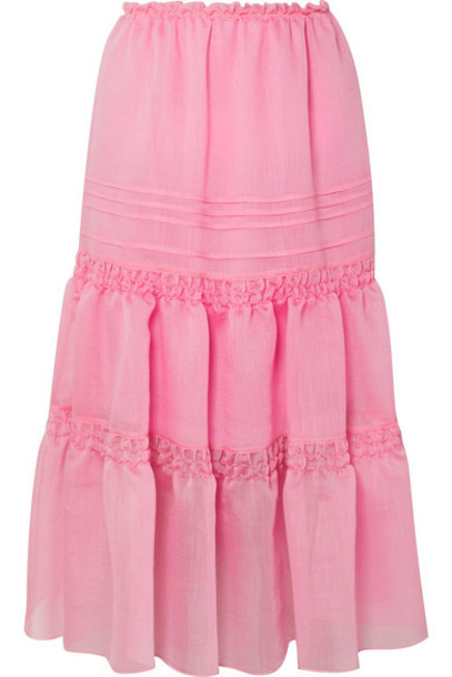 See By Chloé See By Chloé - Tiered Organza Midi Skirt - Pink